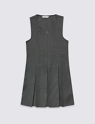 Girls' Permanent Pleated Pinafore, GREY, catlanding