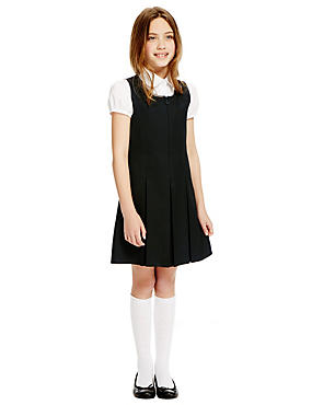 Girls' Traditional Pinafore with Permanent Pleats with Triple Action Stormwear™, BLACK, catlanding