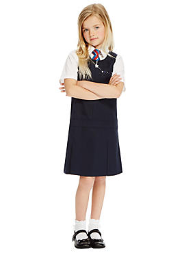 Girls' Embroidered Pinafore with Triple Action Stormwear™, NAVY, catlanding