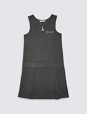 Girls' Embroidered Pinafore, GREY, catlanding