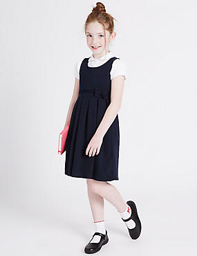 Girls' Cotton Rich Knitted Pinafore, NAVY, catlanding