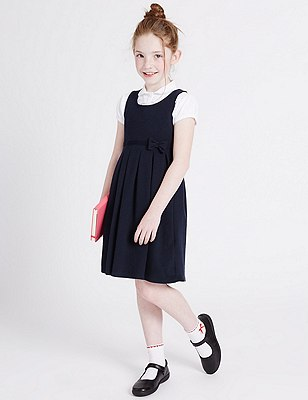 Girls' Cotton Rich Knitted Pinafore with Bow Feature, NAVY, catlanding
