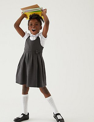 Girls' Cotton Rich Knitted Pinafore, GREY, catlanding
