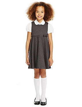 Girls' Cotton Rich Knitted Pinafore with Bow , GREY, catlanding