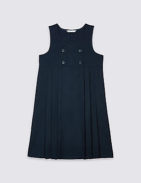 Girls' Pinafore with Crease Resistant, NAVY, catlanding
