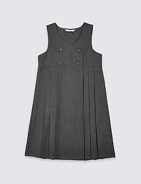 Girls' Pinafore with Crease Resistant, GREY, catlanding