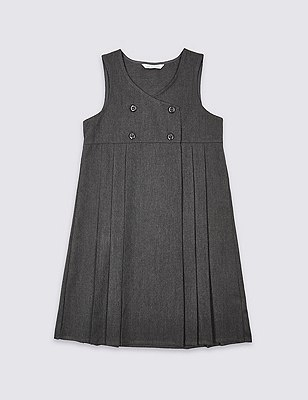 Girls' Double Breasted Crease-Resistant Pinafore with Triple Action Stormwear™, GREY, catlanding