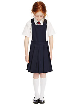 Girls' Crease Resistant Bib Pinafore with Triple Action Stormwear™, NAVY, catlanding