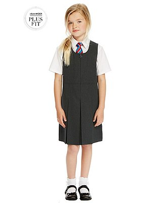 Plus Fit Girls' Traditional Pinafore with Permanent Pleats & Stormwear™ , GREY, catlanding