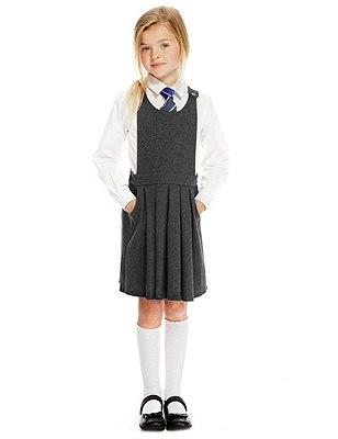 Cotton Rich Adjustable Waist Knitted Bib Pinafore, GREY, catlanding