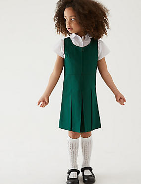 Girls' Pinafore with Permanent Pleats, BOTTLE GREEN, catlanding