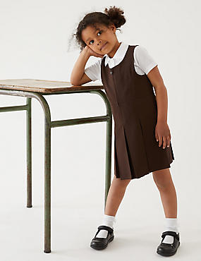 Girls' Pinafore with Permanent Pleats, BROWN, catlanding