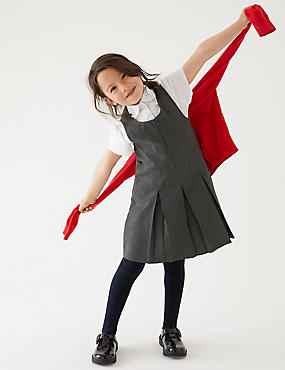 Girls' Longer Length Pinafore, GREY, catlanding