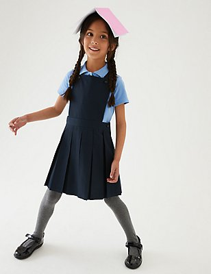 Girls' Pinafore with Permanent Pleats, NAVY, catlanding