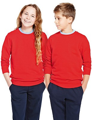 Unisex Cotton Rich Sweatshirt with StayNEW™ & Active Sport™, RED, catlanding