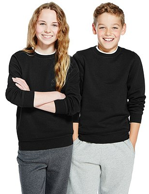Unisex Cotton Rich Sweatshirt with StayNEW™ & Active Sport™, BLACK, catlanding