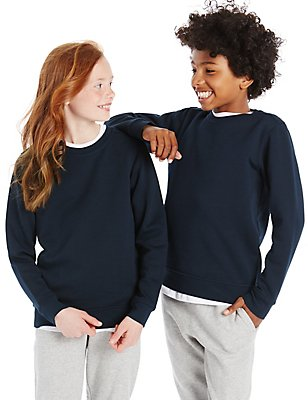 Unisex Cotton Rich Sweatshirt with StayNEW™, NAVY, catlanding