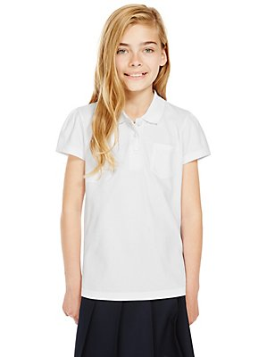 2 Pack Girls' Pure Cotton Scallop Edge Polo Shirts with Stain Away™, WHITE, catlanding