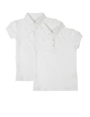 2 Pack Girls' Cotton Rich Ruched Tops, WHITE, catlanding