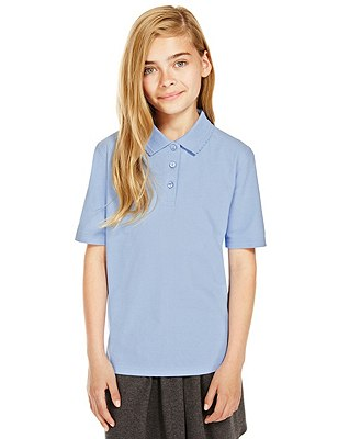 2 Pack Girls' Pure Cotton Polo Shirts with Stain Away™, BLUE, catlanding