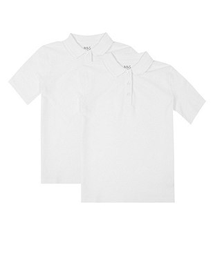 2 Pack Girls' Pure Cotton Polo Shirts with Stain Away™, WHITE, catlanding