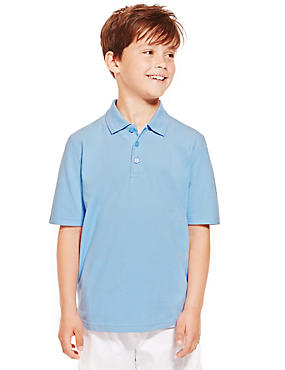 2 Pack Boys' Pure Cotton Polo Shirts with Stain Away™, BLUE, catlanding