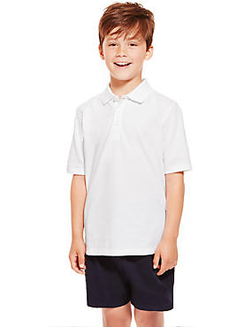 2 Pack Boys' Pure Cotton Polo Shirts, WHITE, catlanding