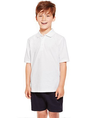 2 Pack Boys' Pure Cotton Polo Shirts with Stain Away™, WHITE, catlanding