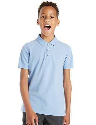 2 Pack Boys' Pure Cotton Slim Fit Polo Shirts with Stain Away™, BLUE, catlanding
