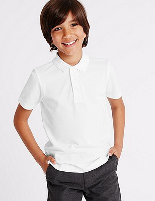 2 Pack Boys' Pure Cotton Slim Fit Polo Shirts with Stain Away™, WHITE, catlanding