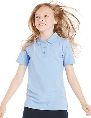 2 Pack Girls' Pure Cotton Slim Fit Polo Shirt with Stain Away™, BLUE, catlanding