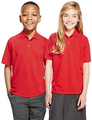 2 Pack Unisex Pure Cotton Polo Shirts, RED, catlanding