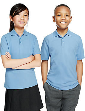 2 Pack Unisex Pure Cotton Polo Shirts, BLUE, catlanding