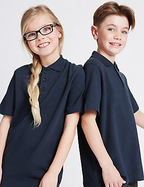 2 Pack Unisex Pure Cotton Polo Shirts, NAVY, catlanding