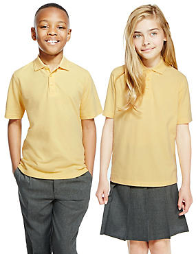 2 Pack Unisex Pure Cotton Polo Shirts, YELLOW, catlanding