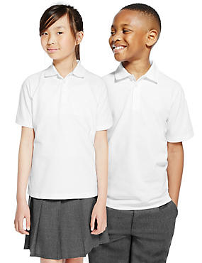 2 Pack Unisex Pure Cotton Polo Shirts, WHITE, catlanding