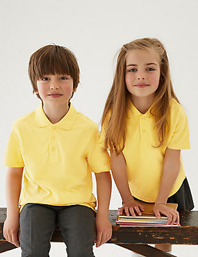 3 Pack Unisex Pure Cotton Polo Shirts, YELLOW, catlanding