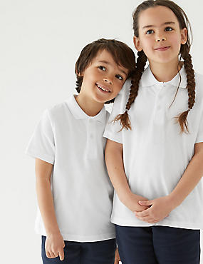 3 Pack Unisex Pure Cotton Polo Shirts, WHITE, catlanding