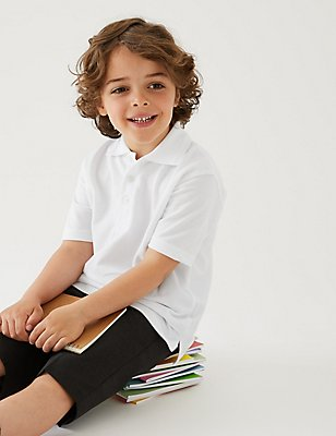 2 Pack Boys' Stain Resist Polo Shirts, WHITE, catlanding