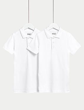 2er-Pack Schmal geschnittene Polohemden aus Baumwolle für Jungen, WEISS, catlanding