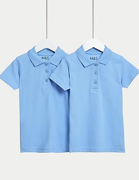 2 Pk Girls' Slim fit Stain Resist Polo Shirts , BLUE, catlanding