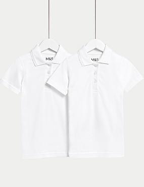 2 Pk Girls' Slim fit Stain Resist Polo Shirts , WHITE, catlanding