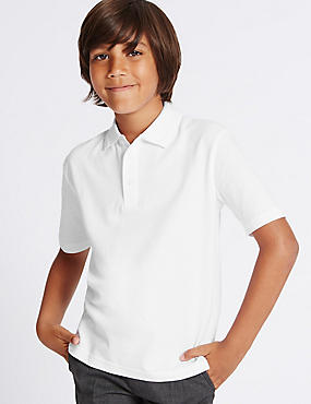 3 Pack Boys' Pure Cotton Polo Shirts with StayNEW™, WHITE, catlanding