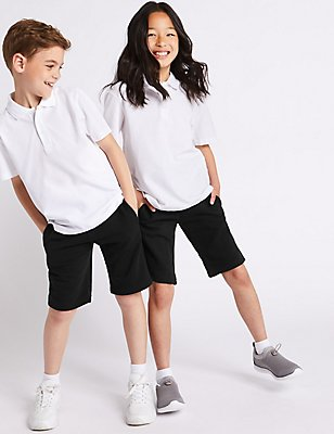 2 Pack Boys' Cotton Rich Sweat Shorts, BLACK, catlanding