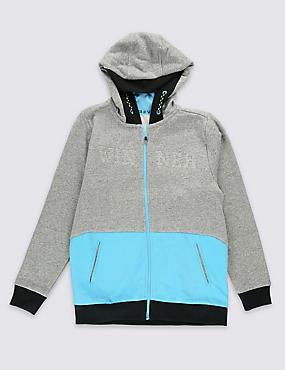 Cotton Blend Hooded Sweatshirt (5-16 Years), GREY MARL, catlanding