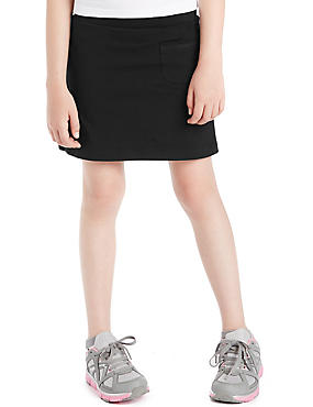 Girls' Cotton Rich Improved fit Skort with StayNEW™, BLACK, catlanding