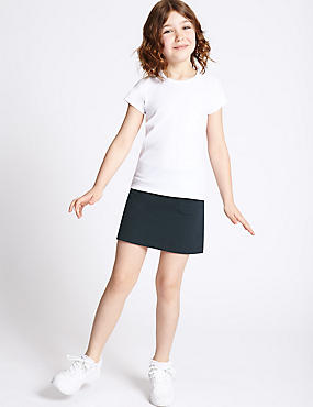 Girls' Cotton Sports Skorts with Stretch, DARK NAVY, catlanding