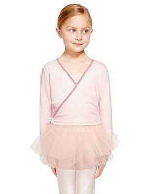 Girls' Pure Cotton Ballet Wrap Cardigan, PINK, catlanding