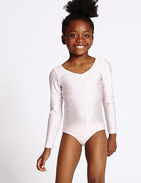 Girls' Gymnastics Long Sleeve Leotard, PINK, catlanding