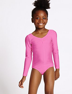 Girls' Gymnastics Long Sleeve Leotard, BRIGHT PINK, catlanding